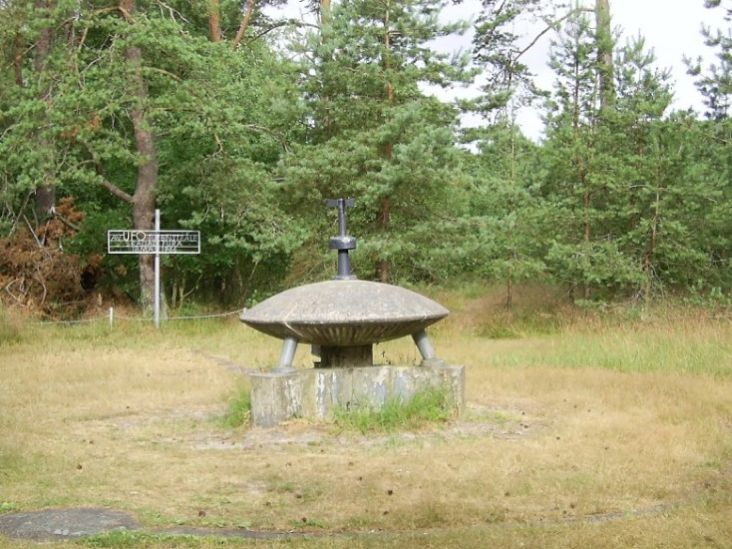 Monument of a flying saucer which is near the Siberian shore The